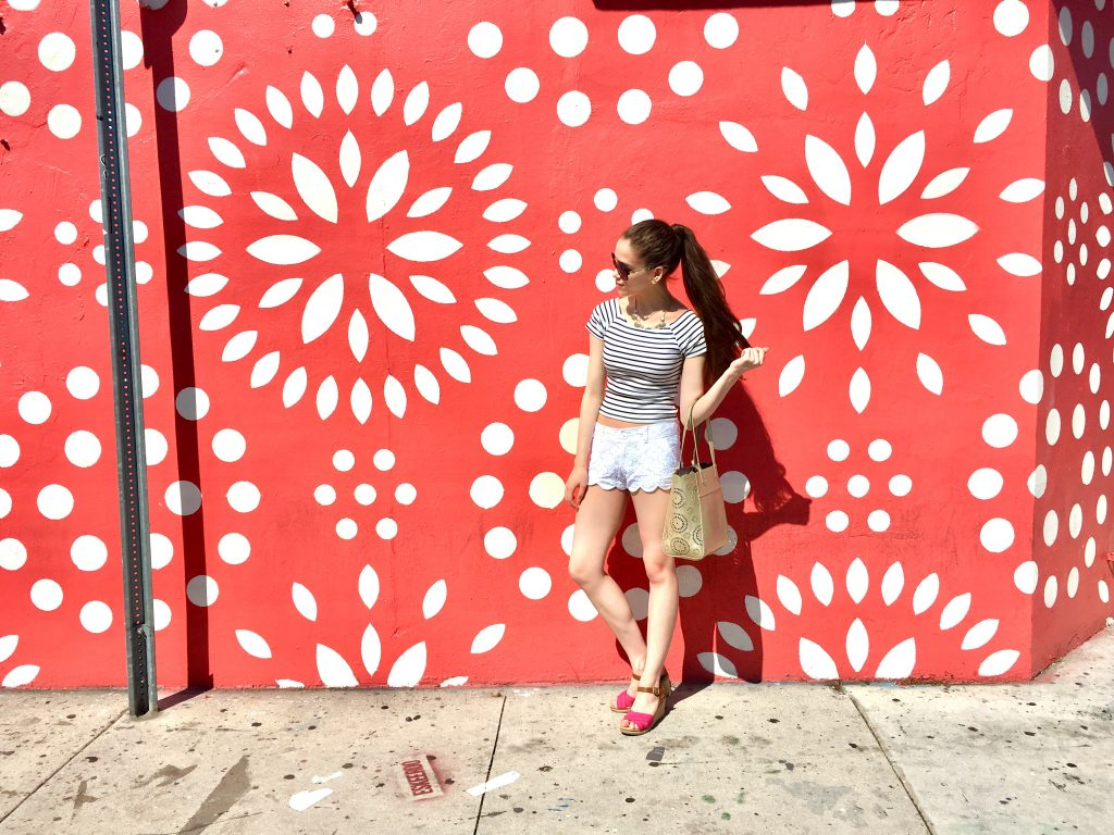 Eva Phan of Eva Darling red and white eyelet Wynwood Walls Art District Miami unique street art