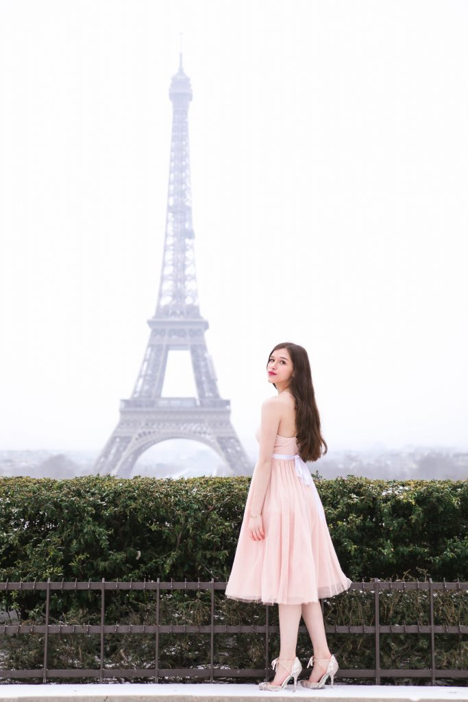 Paris travel guide Eiffel Tower Morning Lavender dress pink tulle dress Eiffel Tower photo inspo photo ideas girl by Eiffel Tower Blue by Betsey Johnson shoes