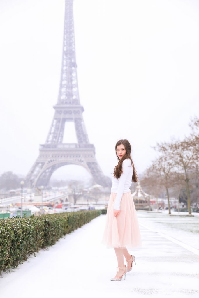 Paris travel guide Eiffel Tower Morning Lavender dress pink tulle dress Eiffel Tower photo inspo photo ideas girl by Eiffel Tower Blue by Betsey Johnson shoes white ruffle turtleneck sweater from Primark