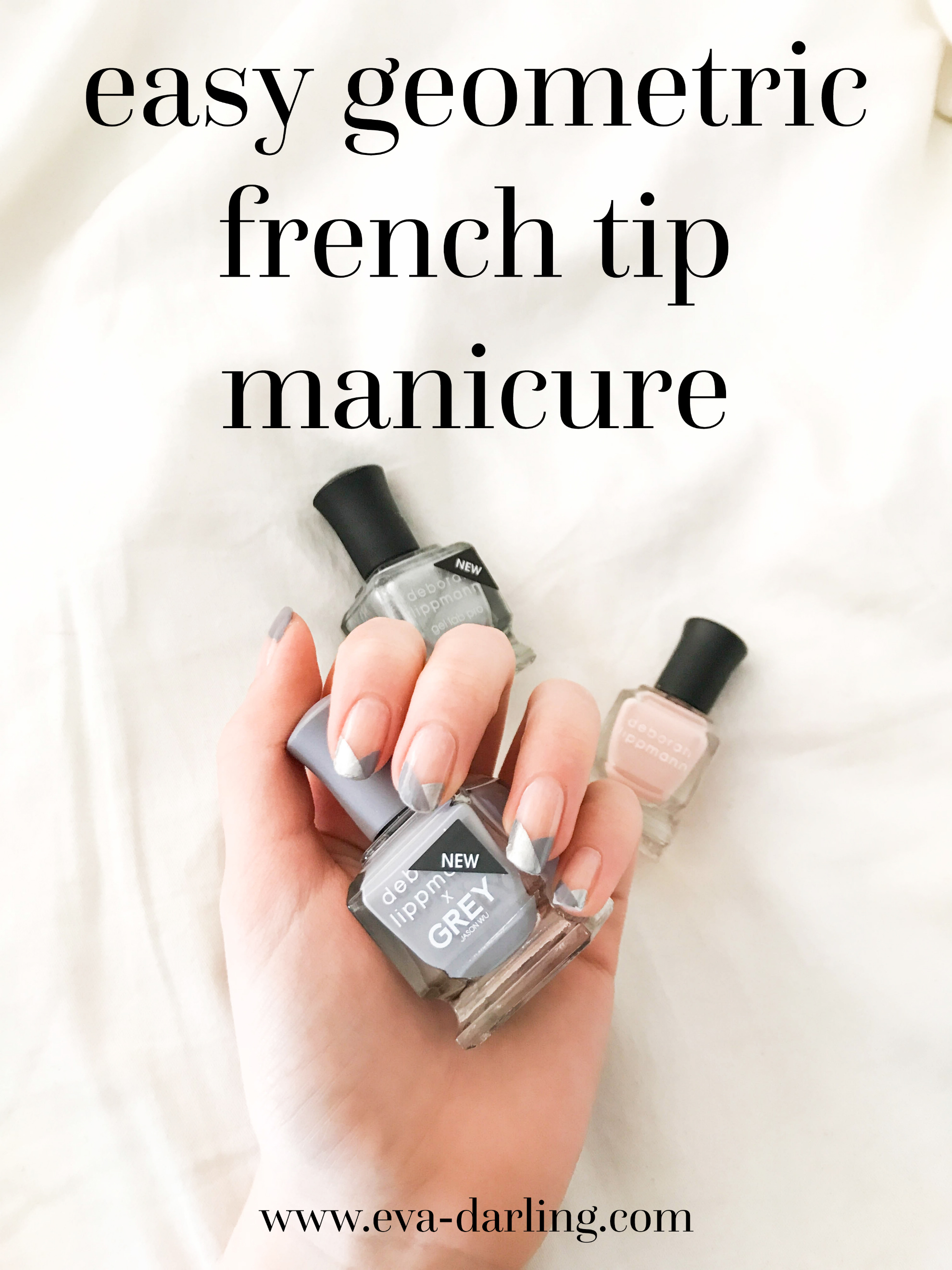 geometric french tip manicure beauty hack hacks deborah lippmann gray grey light pink silver nail polish jason wu lacquer easy quick simple minimalist nail art tutorial