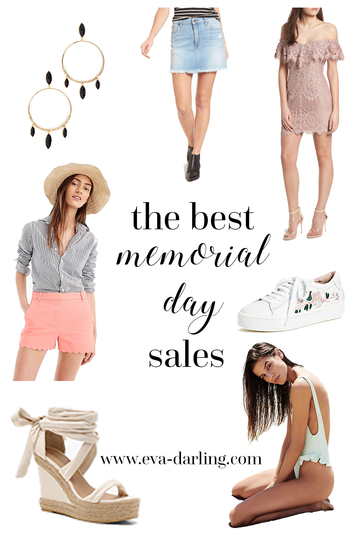 memorial day sale sales roundup j. crew nordstrom free people shopbop boohoo anthropologie saks fifth avenue baublebar kate spade new york ksny sneakers embroidered tennis shoes denim miniskirt frayed lace minidress espadrille wedges coral scalloped shorts swimwear one piece swimsuit conservative modest bodysuit leotard model pink black and gold hoop earrings