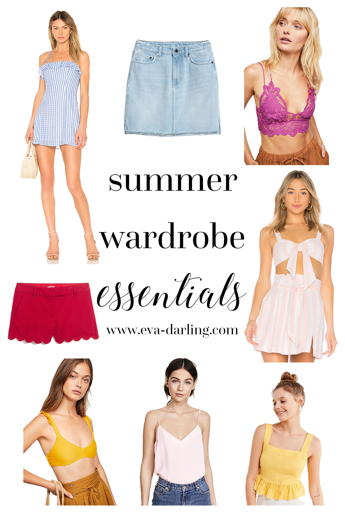 summer wardrobe essentials guide for closet staples in warm weather tropical clothing to wear citizens of humanity hm h and m j crew revolve privacy please amanda uprichard free people urban outfitters denim skirt magenta fuschia bralette pink and white stripe striped matching set yellow crop top bikini silk cami camisole red scallop scalloped shorts4 inch inseam gingham sundress minidress mini dress