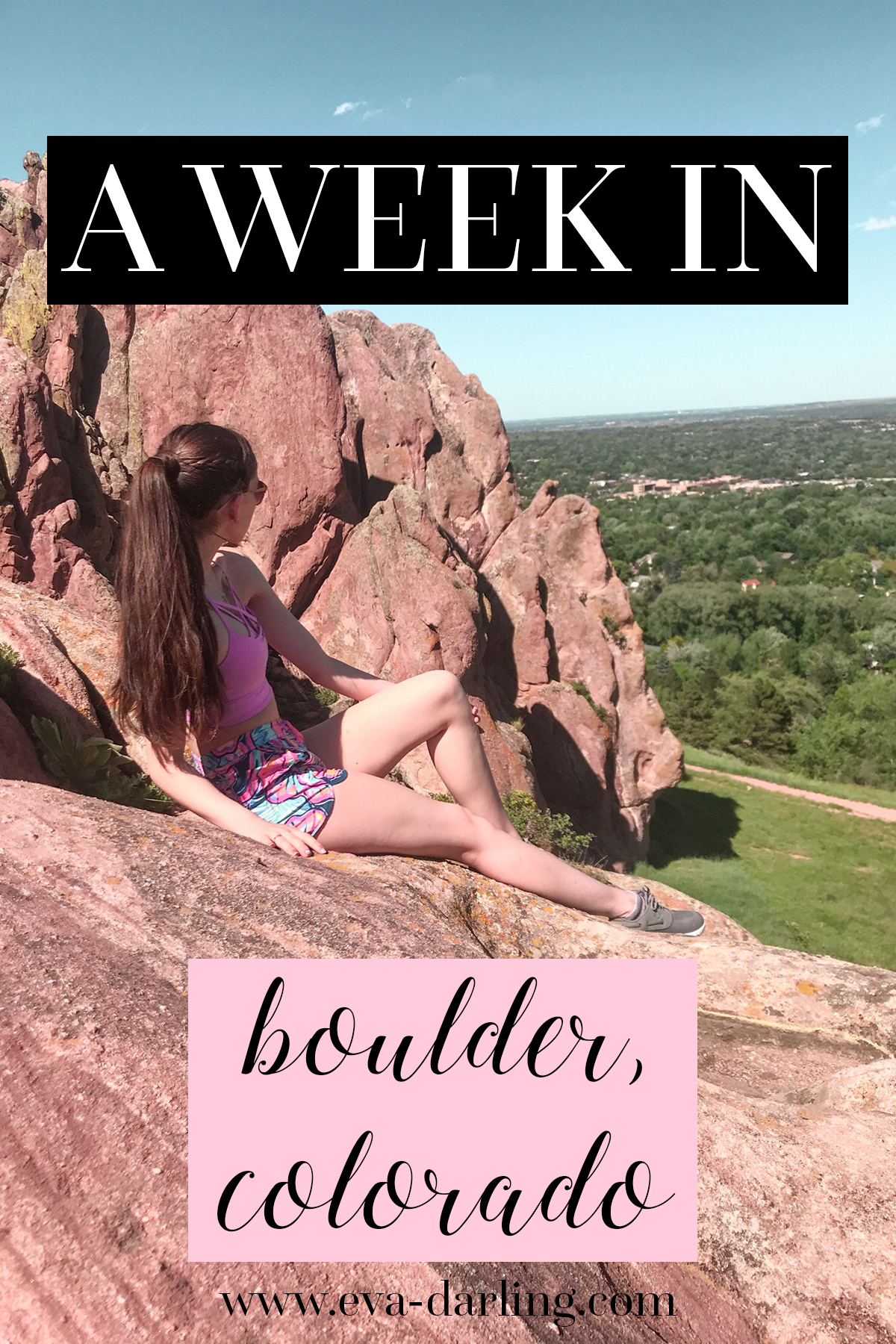 boulder colorado travel with me travel vlog what to do in the southwest girl with long brown hair in wrapped ponytail sitting on red rocks Lilly Pulitzer runaround run around short shorts in boho bateau victoria's secret VS pink sports bra luxletic navy sperry seven 7 seas
