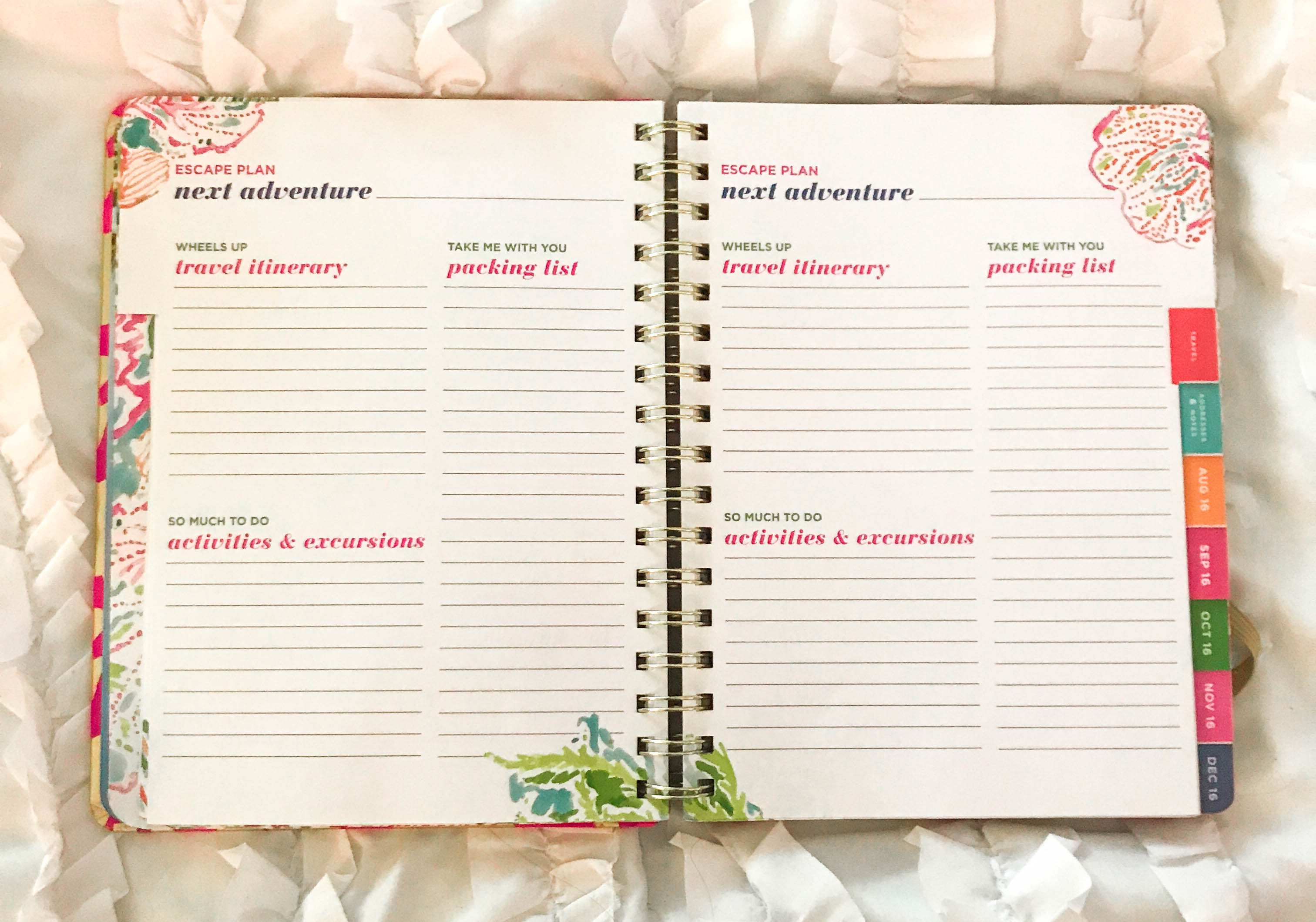 lilly pulitzer tusk in sun agenda planner organization stationary compared to shop ban.do kate spade vacation planning getaway guide floral tropical watercolor