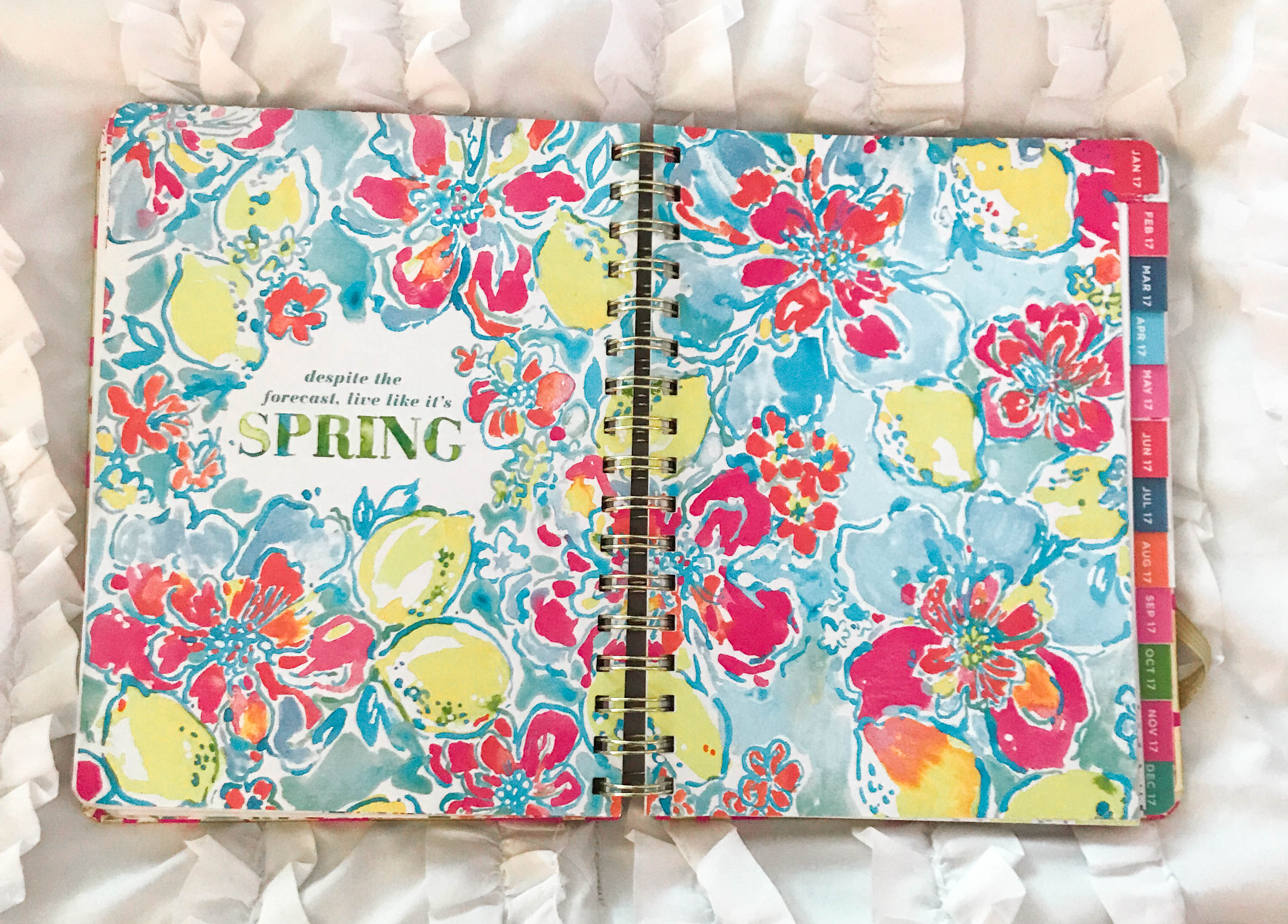 lilly pulitzer tusk in sun agenda planner organization stationary compared to shop ban.do kate spade vacation planning getaway guide floral tropical watercolor monthly month title page spread tropical floral flowers bright colors pink blue yellow green