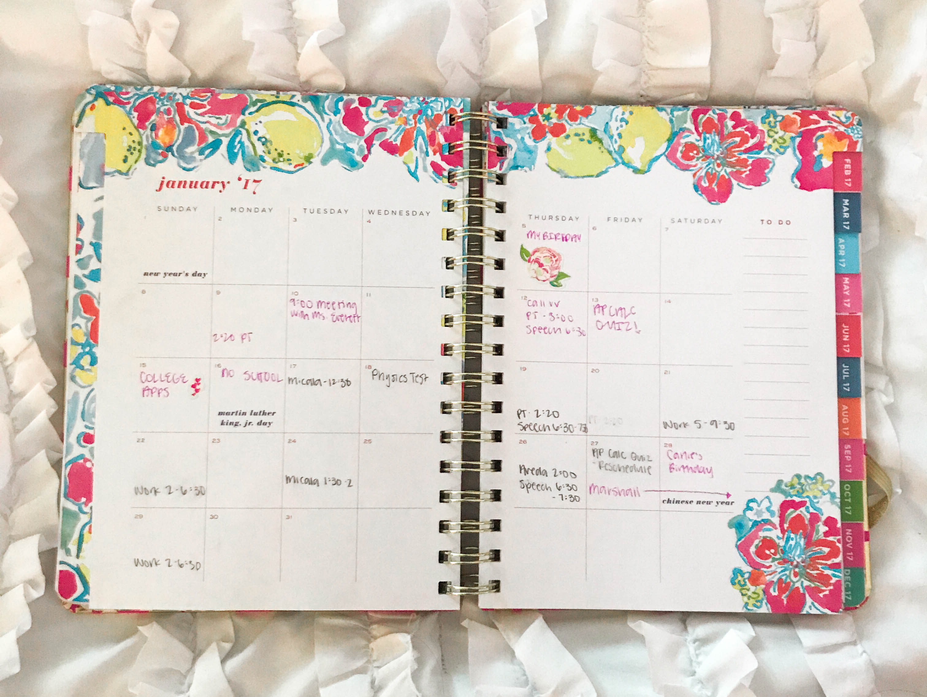 Lilly Pulitzer Agenda planner organization tusk in sun monthly spread month floral flowers on white duvet cover