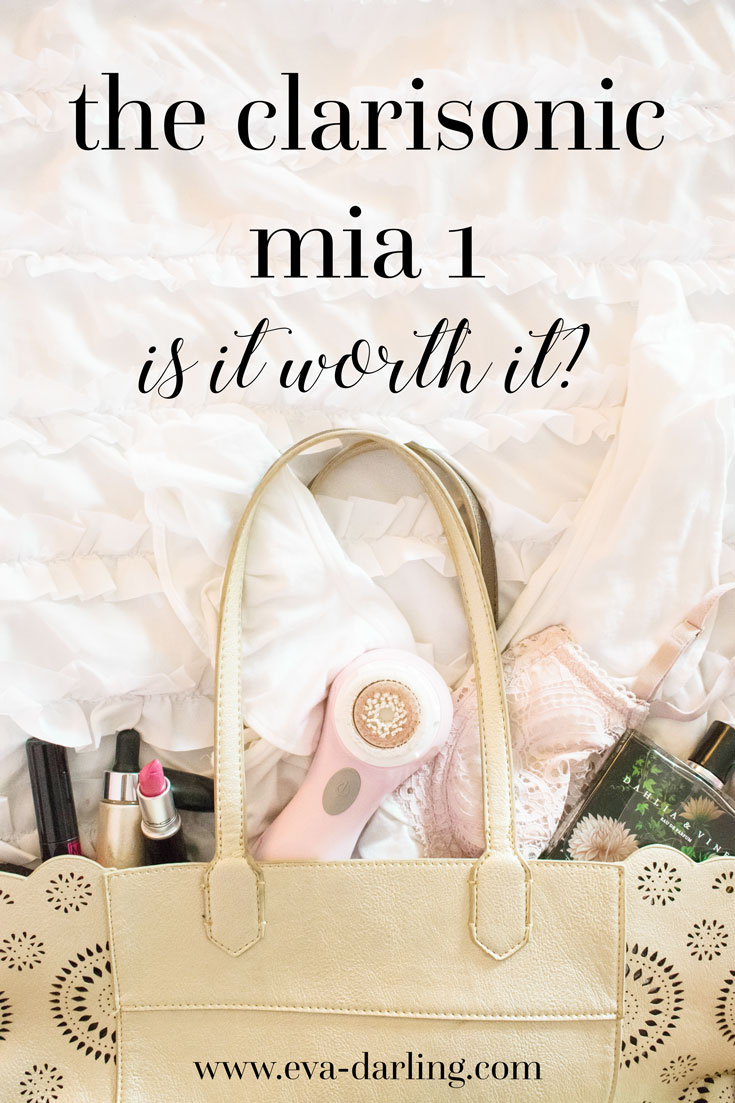 clarisonic mia 1 flatlay skincare tool brush mac cosmetics lipstick lovelorn metallic scallop laser cut gold tote bag nest fragrances dahlia and vines lancome monsieur big cover fx glitter drops in mirage