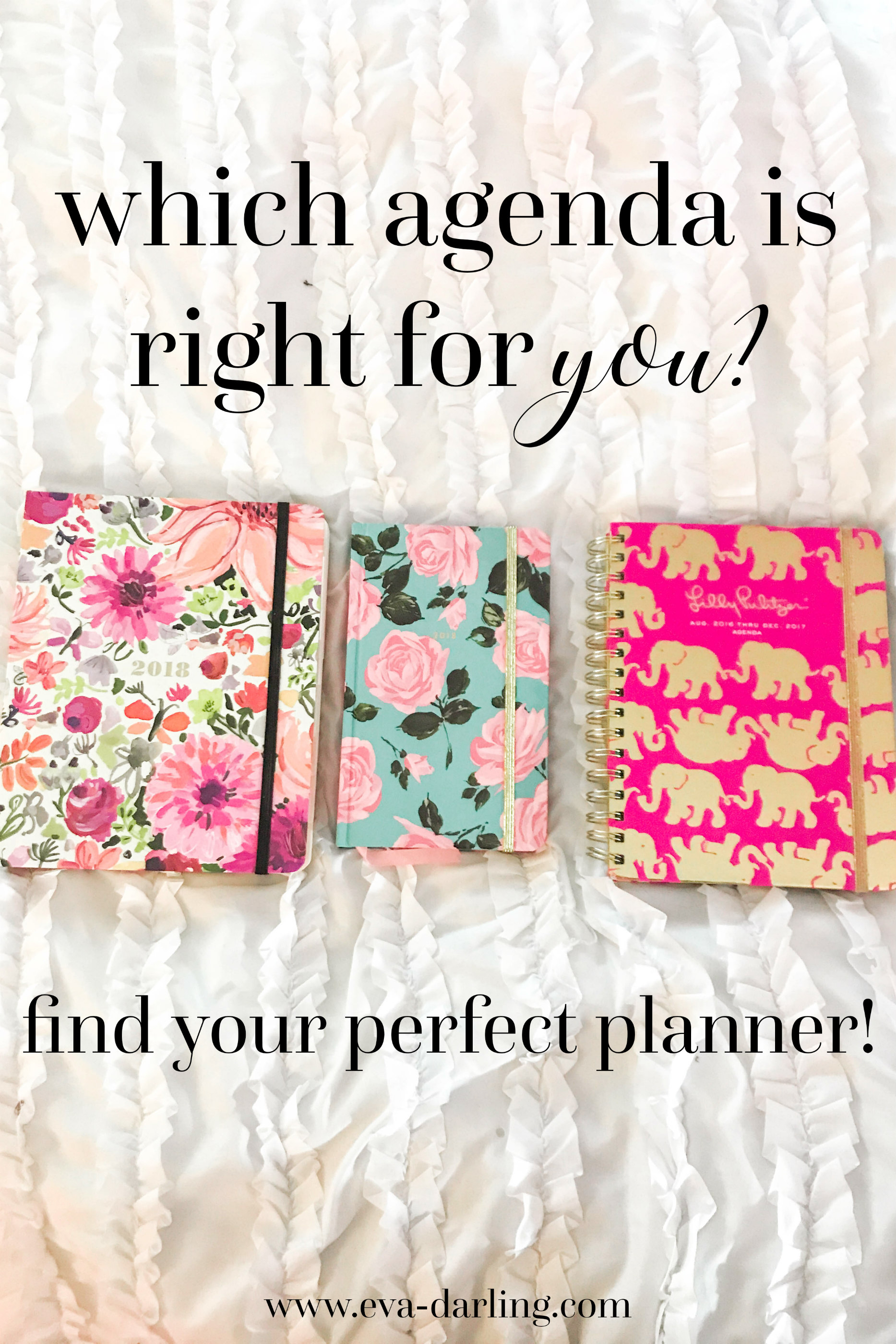 lilly pulitzer kate spade bando shop agenda planner organization elephant print pink roses on blue background with green leaves watercolor orange and magenta floral flower pattern on white duvet comforter with black text