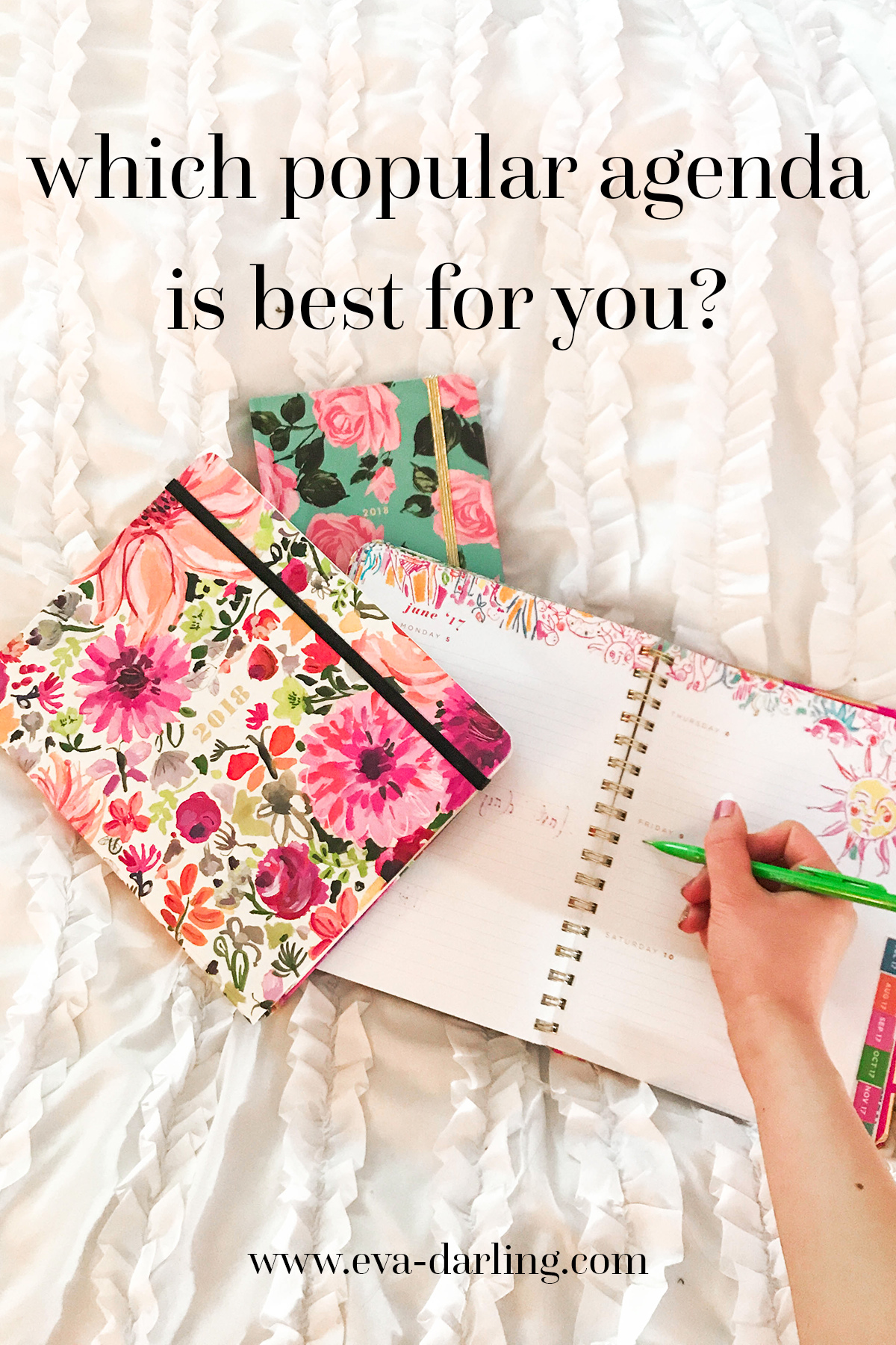 lilly pulitzer kate spade bando shop agenda planner organization elephant print pink roses on blue background with green leaves watercolor orange and magenta floral flower pattern on white duvet comforter with black text gold metallic detail elastic hardcover bound spiral covered
