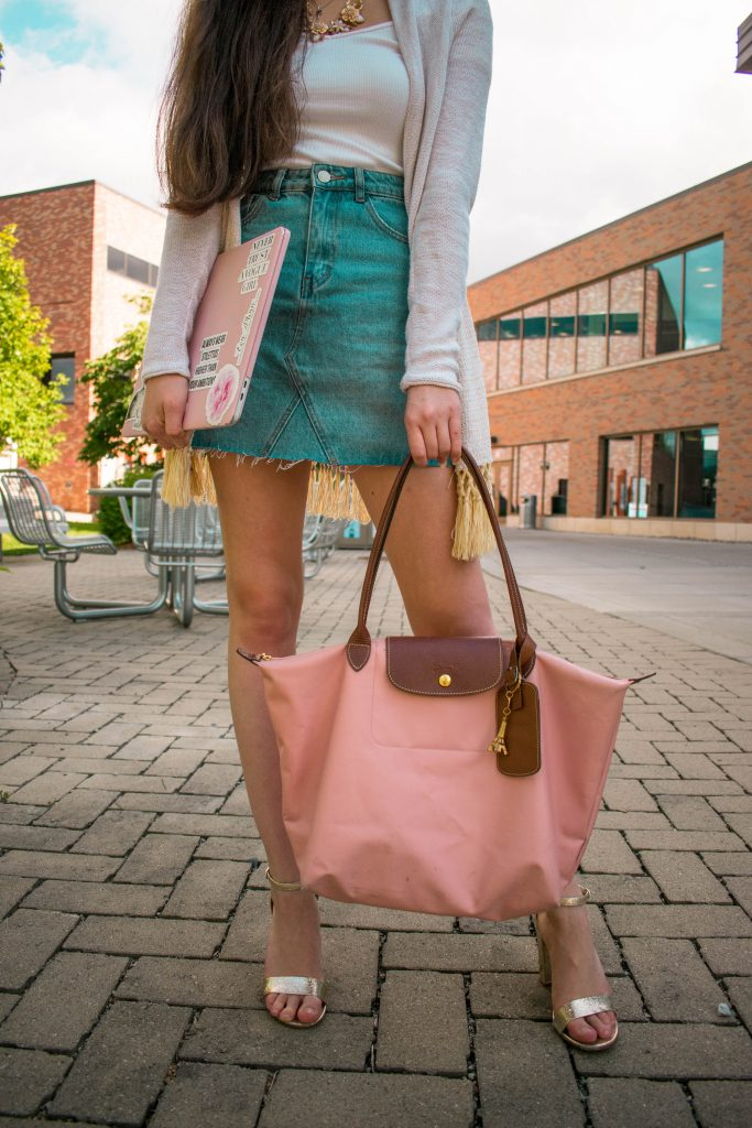 Style blogger Eva Phan of Eva Darling denim embroidered mini skirt Lilly Pulitzer gold metallic tatum cardigan longchamp le pliage cherry blossom pink metallic gold chumky block heels sandals 15 inch macbook pro white ribbed crop top
