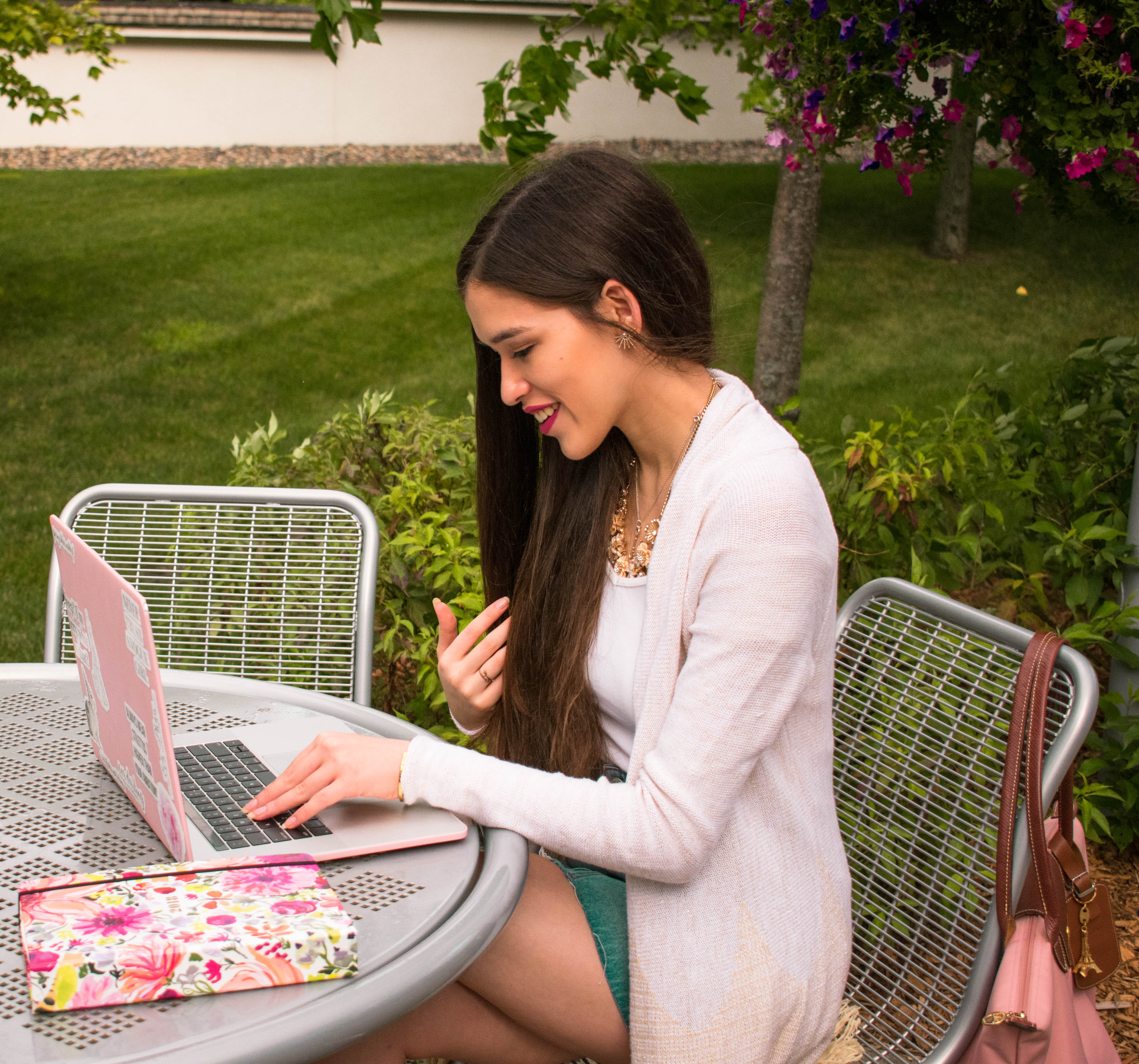 NYC college and style blogger Eva Phan of Eva Darling in metallic gold Lilly Pulitzer Tatum Cardigan macbook pro 15 inch stickers from Redbubble fashion design sketch Kate Spade panner agenda Normandale Community College Bloomington MN Longchamp Le Pliage Cherry Blossom Pink