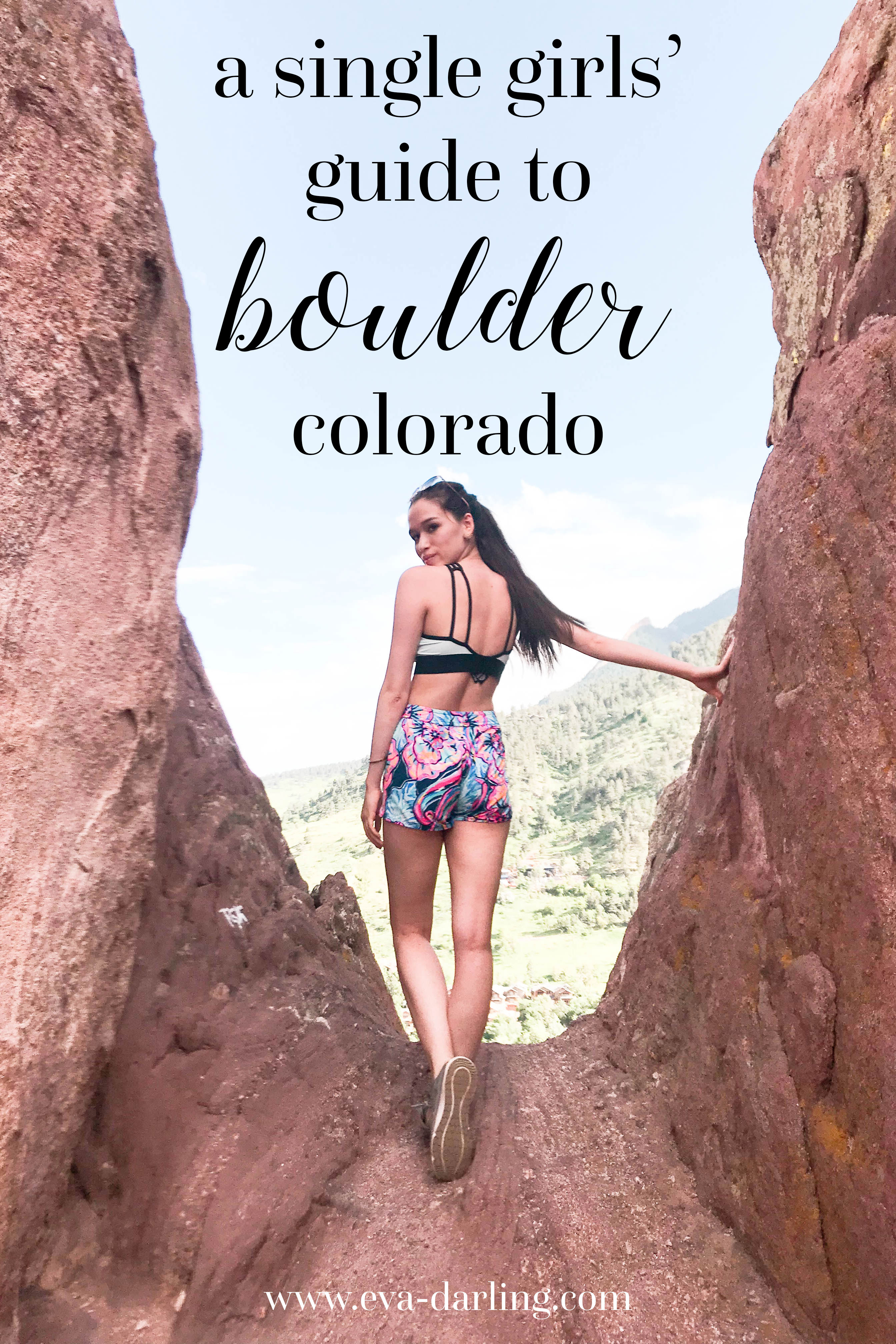 eva phan eva darling NYC travel blog blogger red rocks trail boulder colorado lilly pulitzer run around shorts blue boho bateau vs pink sports bra sperry topside 7 seas seven brunette long hair ponytail brown hiking shoes tennis water shoe a single girls' guide victorias secret
