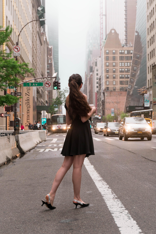 Eva Darling in little black dress silk amanda uprichard dior j'adior pumps on 5th avenue new york NYC manhattan