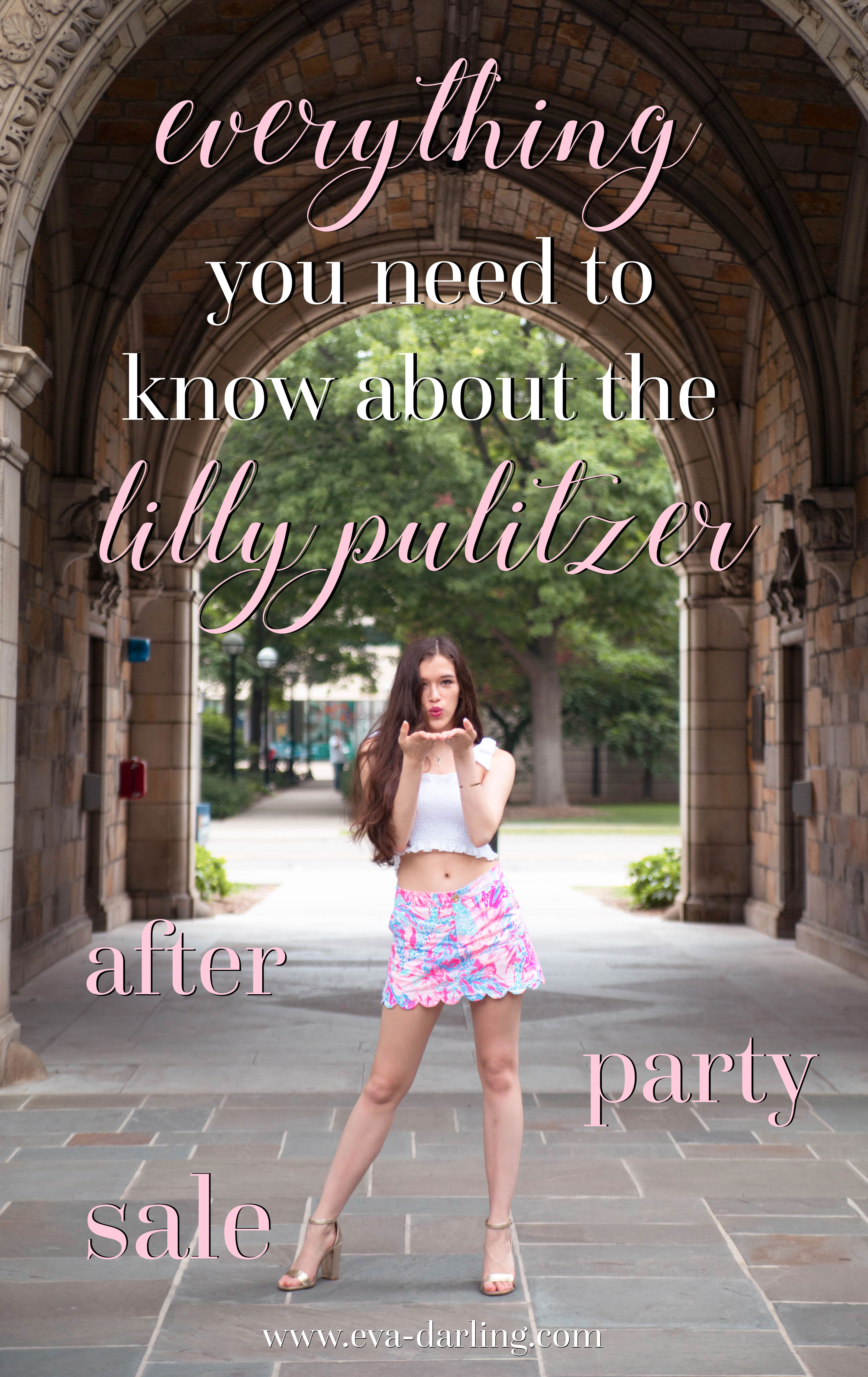 Preppy style blogger Eva Phan of Eva Darling on everything you need to know about the Lilly Pulitzer After Party Sale APS Colette skort in aquedesiac smocked tie shoulder crop top target heels university of michigan ann arbor long thick brown brunette hair