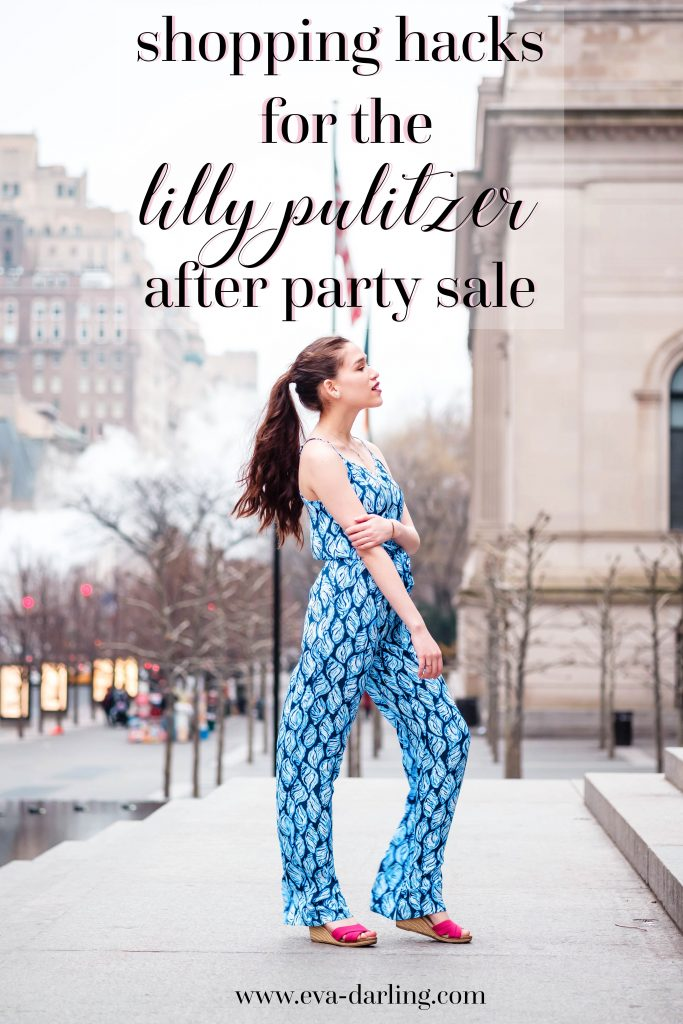Preppy style blogger Eva Phan of Eva Darling in a Lilly Pulitzer Dusk Jumpsuit in Drop in long brown curled hair brunette thick hair ponytail after party sale tips