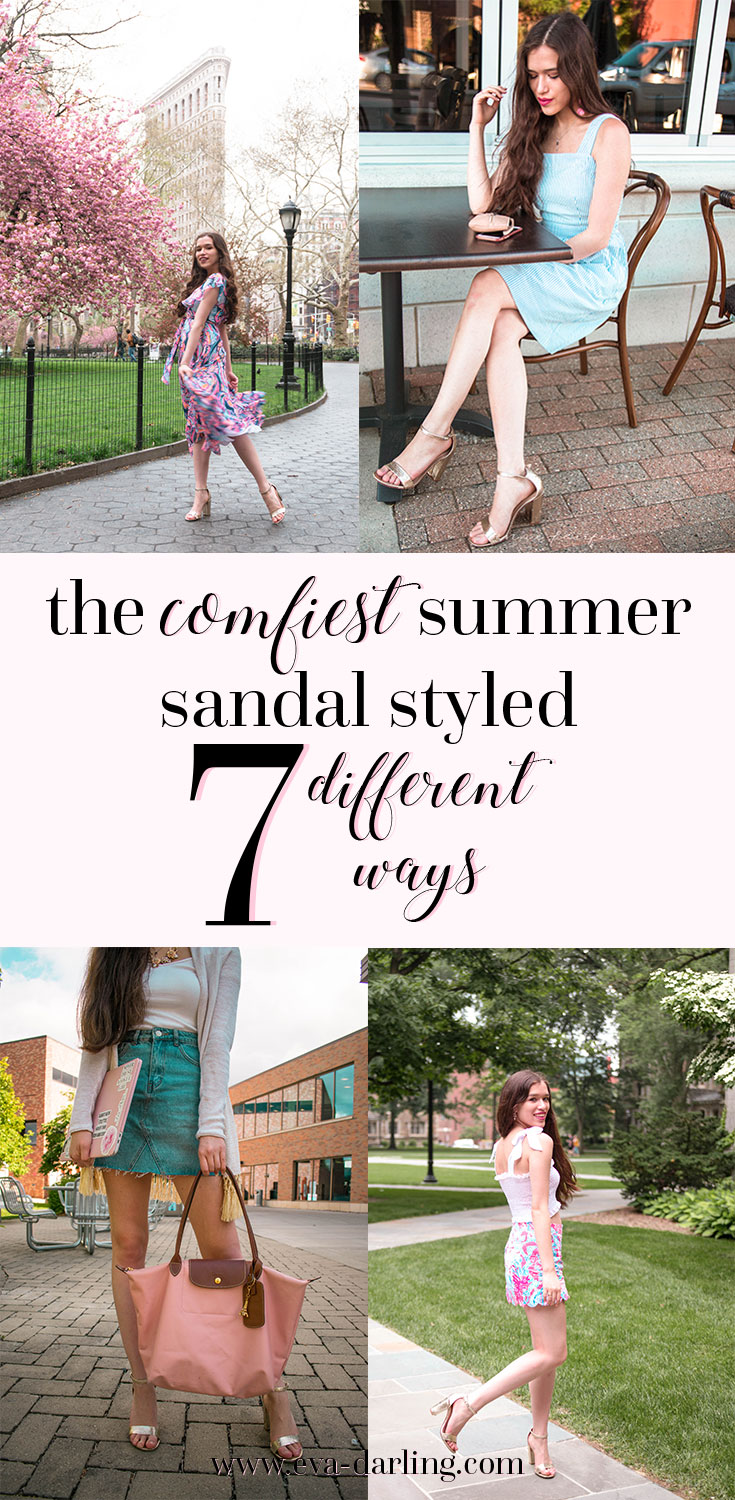 Style blogger in NYC Eva Phan of Eva Darling shares the comfortable and cute summer sandal heel of the season styled 7 different ways in trendy classic preppy outfits metallic gold comfy block heel long curled wavy brown hair Lilly Pulitzer colette skort in aquadesiac marianna dress in navy blue boho bateau denim miniskirt j. crew seersucker dress with pockets flatiron building manhattan New York City easy styling hacks and advice what to wear summer fashion