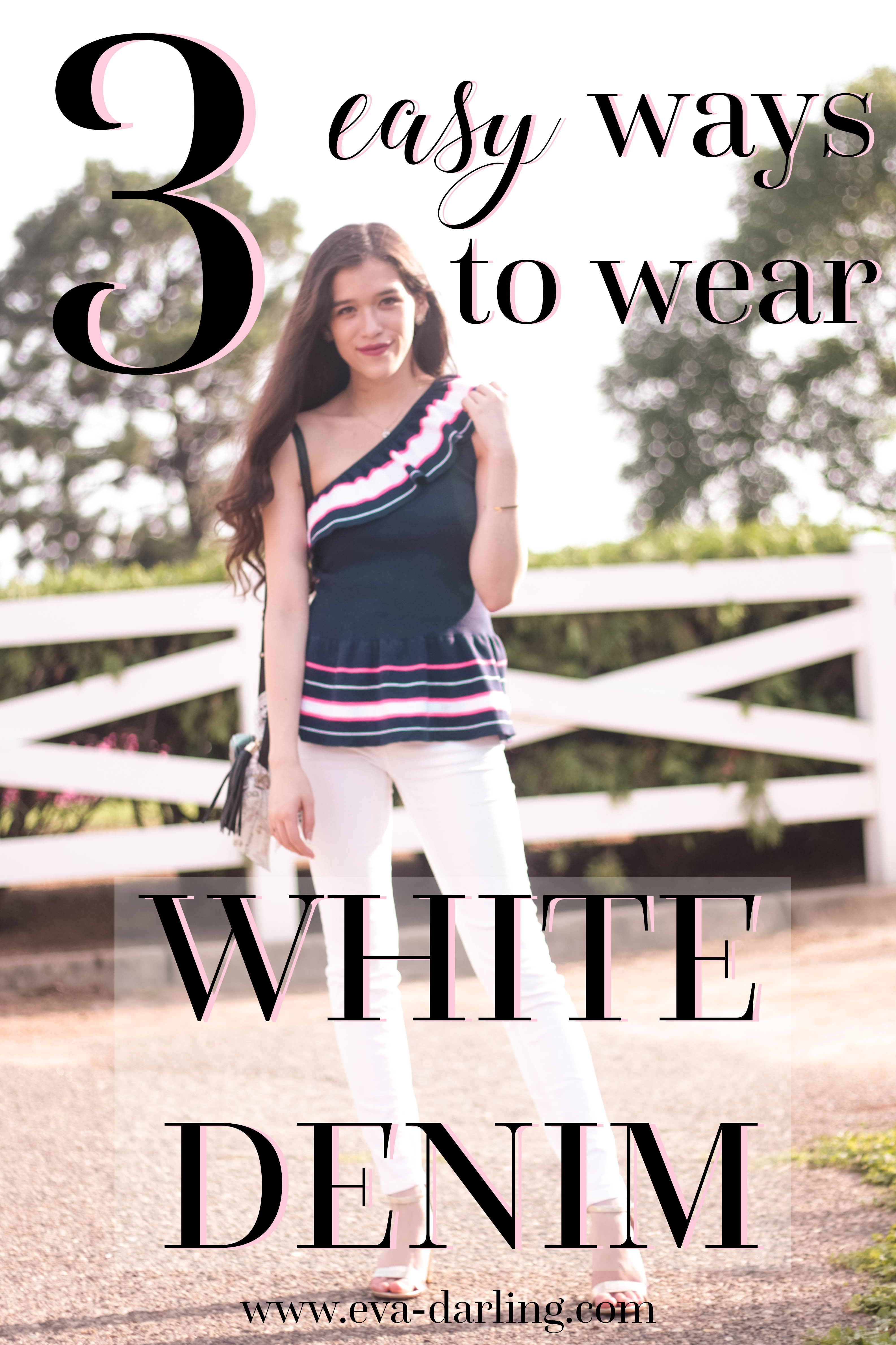 Three Easy Ways to Wear White Denim in the Summer styling advice for preppy teensMinnesota Canterbury Park girl with long brown hair wearing white Vineyard Vines skinny denim jeans Lilly Pulitzer navy ruffle asymmetrical one shoulder Mandarina Top and metallic gold chunky heels with black Gucci Soho Disco and Dior Mitzvah Tarot Twilly