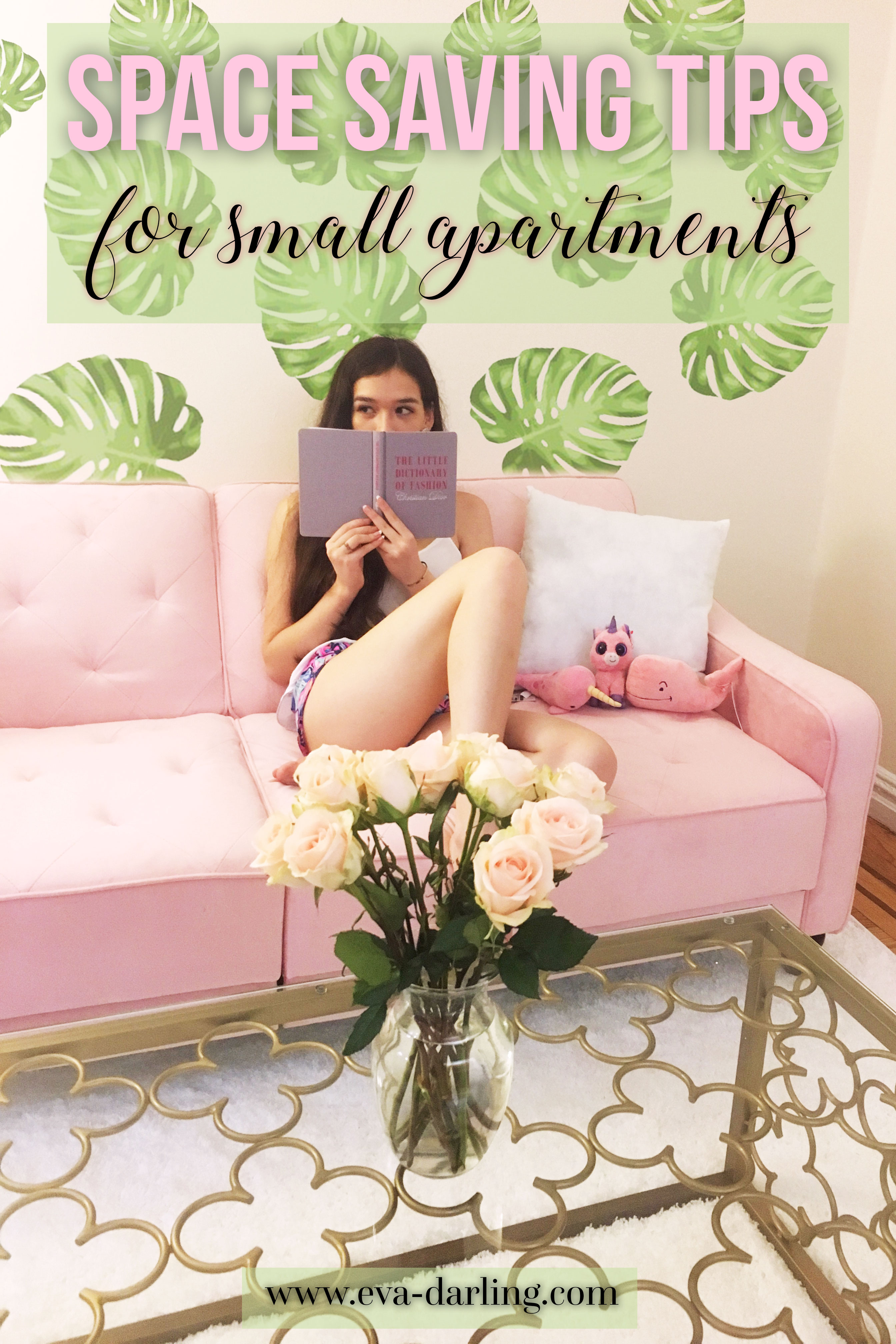College lifestyle blogger Eva Phan of NYC based blog Eva Darling shares her space saving tips for small apartments sitting in her manhattan studio apartment dhp furniture novogratz pink velvet couch