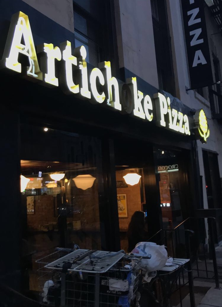 artichoke pizza manhattan NYC 14th st east village storefront