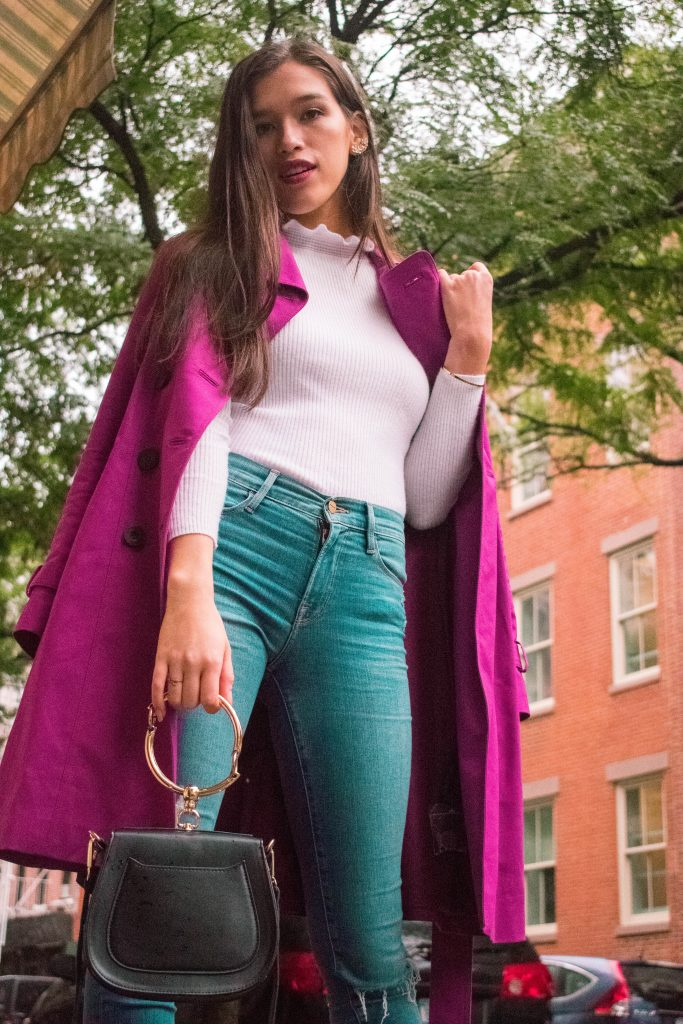 Style and travel blogger Eva Phan of Eva Darling at Little Bake Shop magenta hobbs trench coat rain jacket soho manhattan high waisted frame denim jeans white ruffle turtleneck sweater fucci gold city marmont sandal long brown hair asian american hapa chloe nile handbag saddle bag bracelet