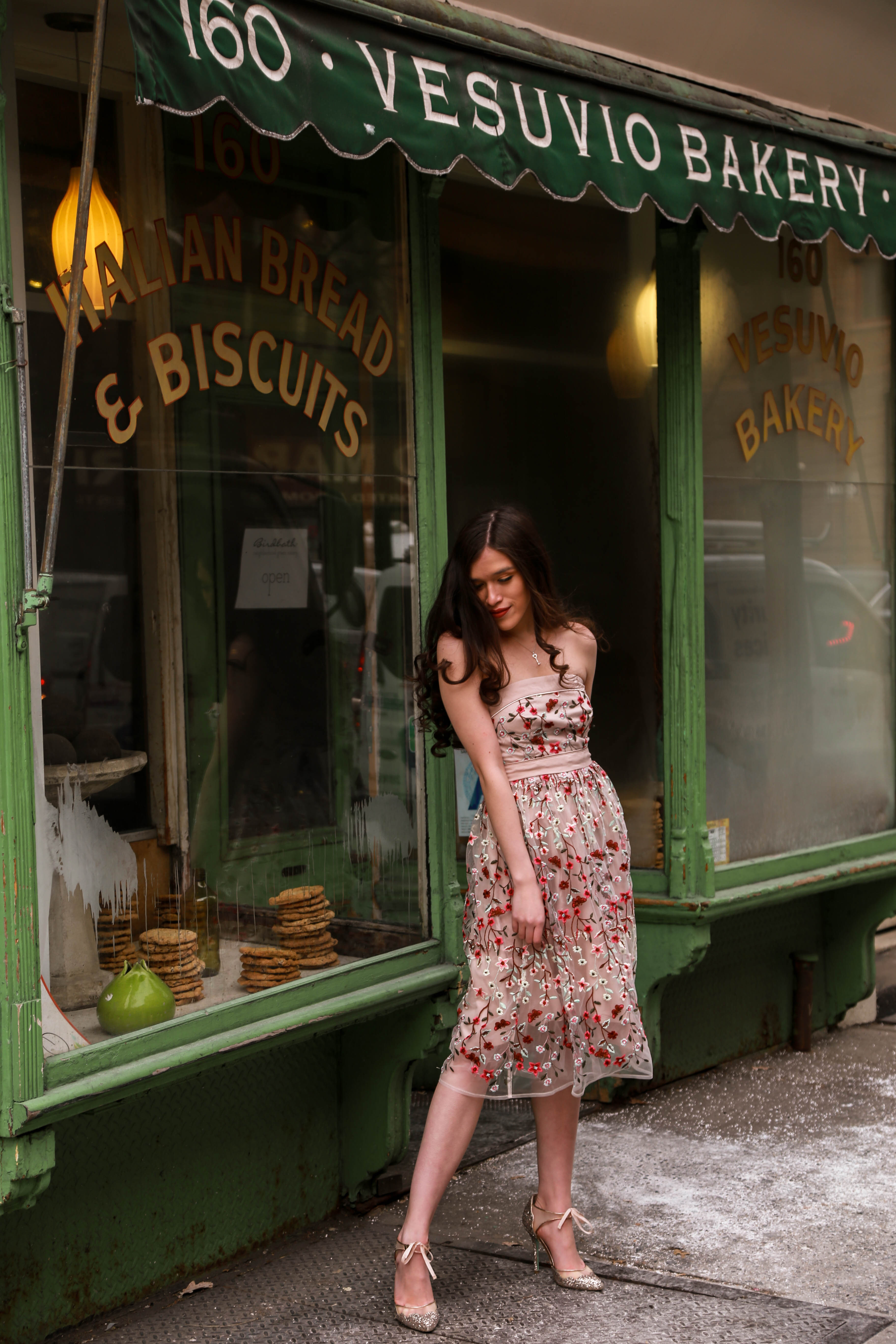 Eva Phan of Eva Darling at Vesuvio Bakery Instagrammable olopcation in SoHo Instagram worthy Lulu's tulle embroidered tea length midi dress romantic feminine style ootd inspiration