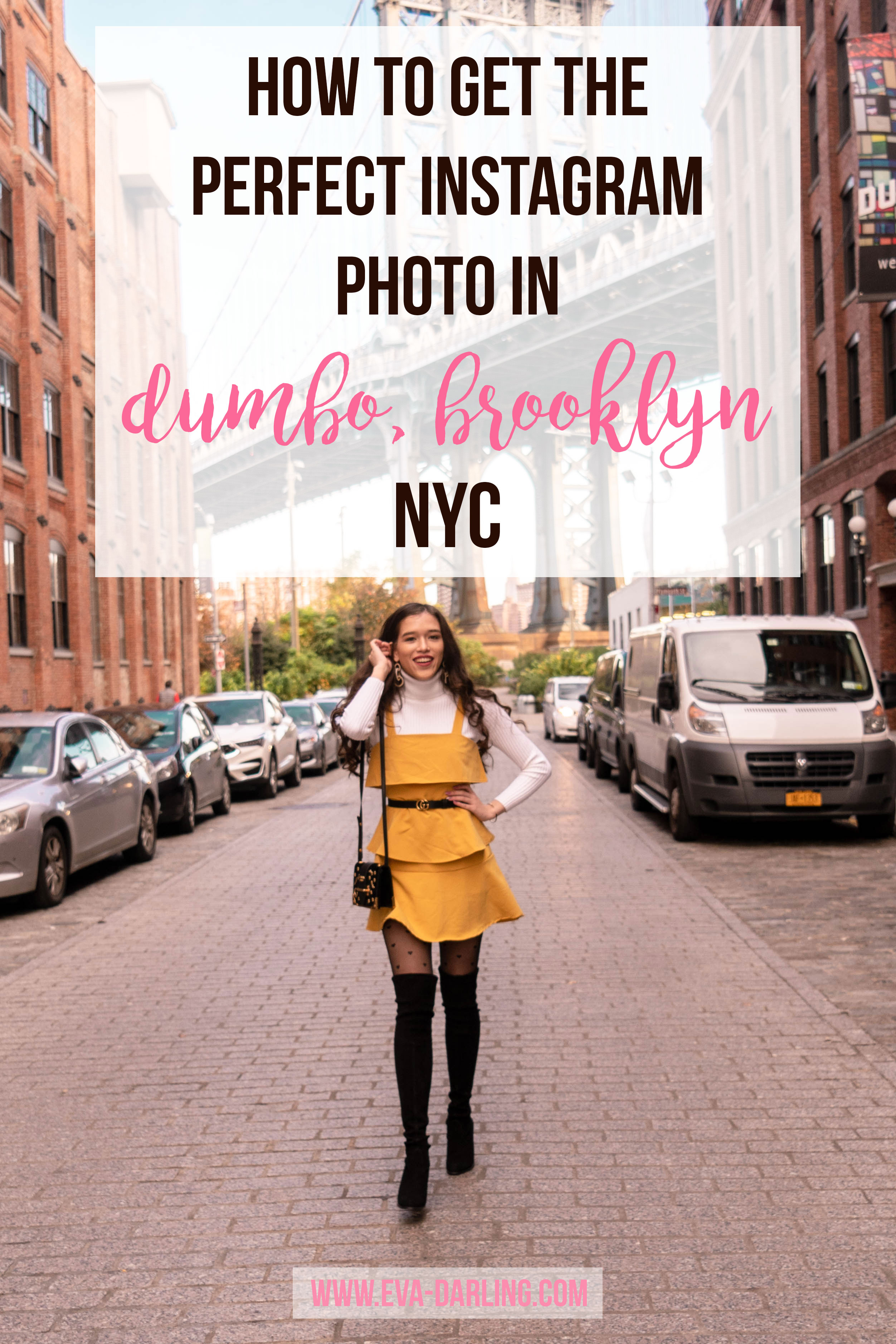 Popular NYC style and travel blogger Eva Phan stuart weitzman hiline over the knee OTK boots in black yellow ruffle tiered fit and flare dress white turtleneck sweater black heart tights gucci belt 1 inch prada astrology cahier handbag half asian VIetnamese girl trendy fall ootd outfit figure flattering teenage luxury college what to wear Lisi Lerch Emily Pearl Earrings