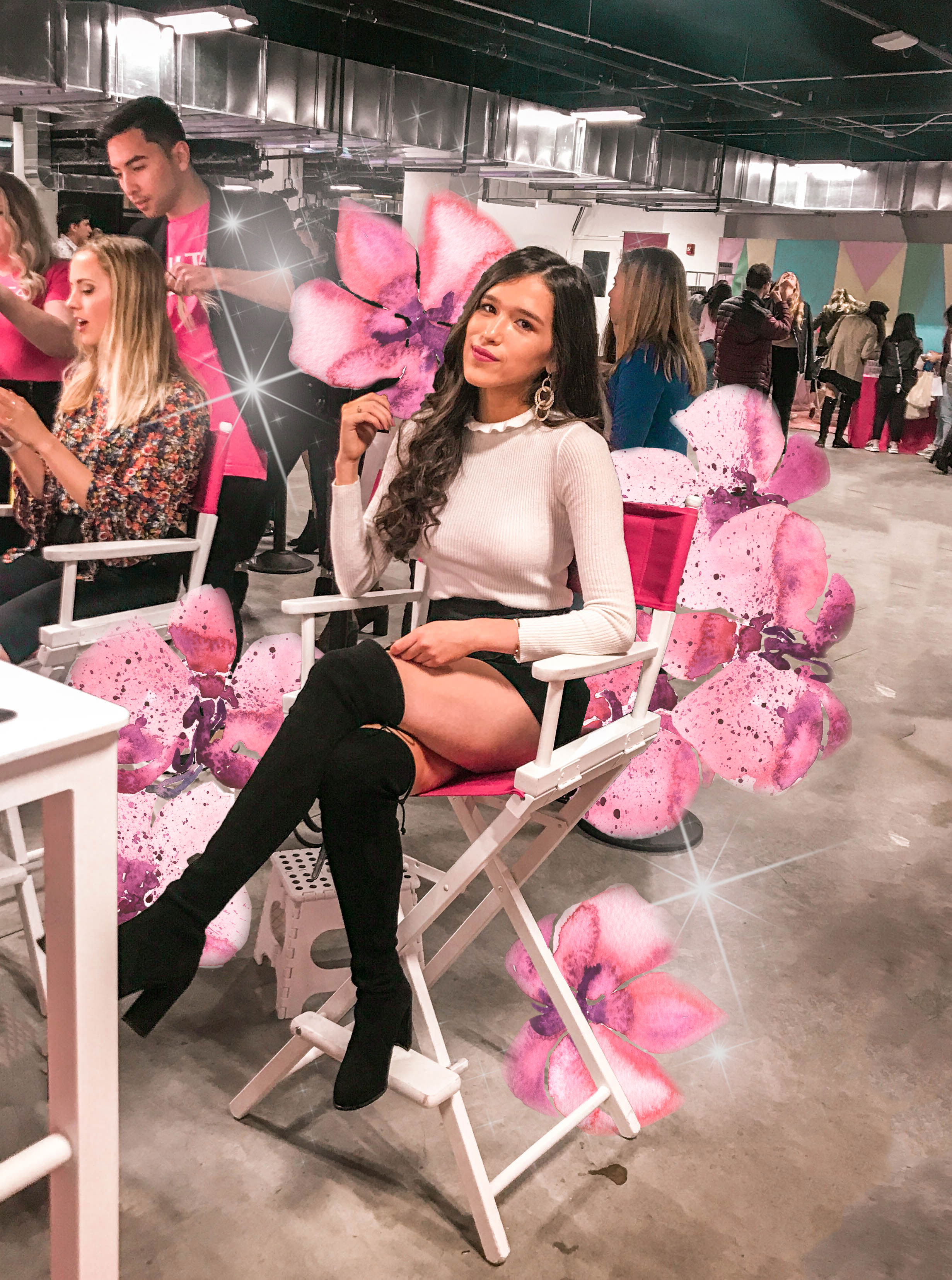 Eva Phan of Eva Darling partnered with Ulta Beauty at Her Campus College Fashion Week in Brooklyn NYC black suede stuart weitzman otk boots white turtleneck ruffle primark hiline