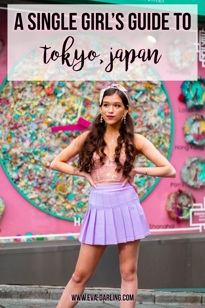 Travel and style blogger Eva Phan of Eva Darling A Single Girl's Guide to Tokyo Japan solo female traveler asia travel guideoutside of Moshi Moshi Box Information Center plush clock in harajuku shibuya tokyo japan kawaii fashion american apparel lilac tennis skirt victoria's secret unlined dream angels scalloped lace bustier demure pink rose gold shine dior mitzah tarot twilly boohoo pearl strappy black stiletto what to wear teen girl fashion how to wear a hair scarf girly feminine fashion