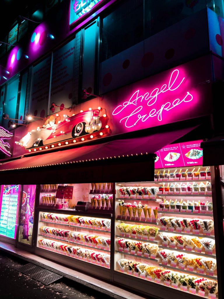 Angel Crepes Takeshita Street Harajuku Tokyo Japan kawaii neon pink sign logo