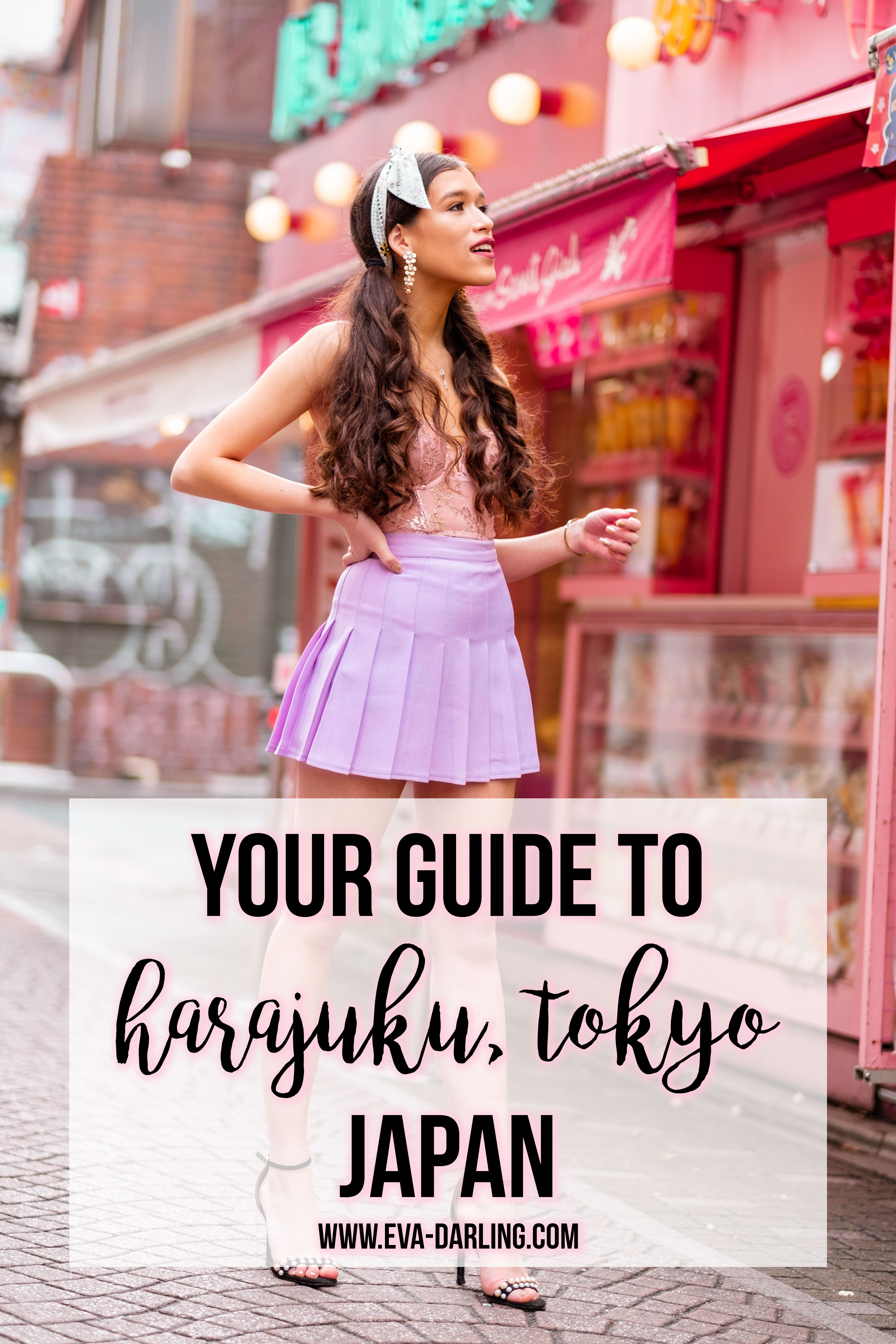 NYC based style and travel blogger Eva Phan on tips and tricks for shopping in Harajuku Tokyo santa monica crepe kawaii style ootd girl victoria's secret demure pink with rose gold foil scalloped lace american apparel lilac pleated tennis skirt boohoo pearl strap stilettos dior mitzah tarot twilly scarf how to wear a hair scarf japan travel guide where to go in shibuya crepe santa monica angel teen girl fashion curled hair pigtails easy hairstyle long hair