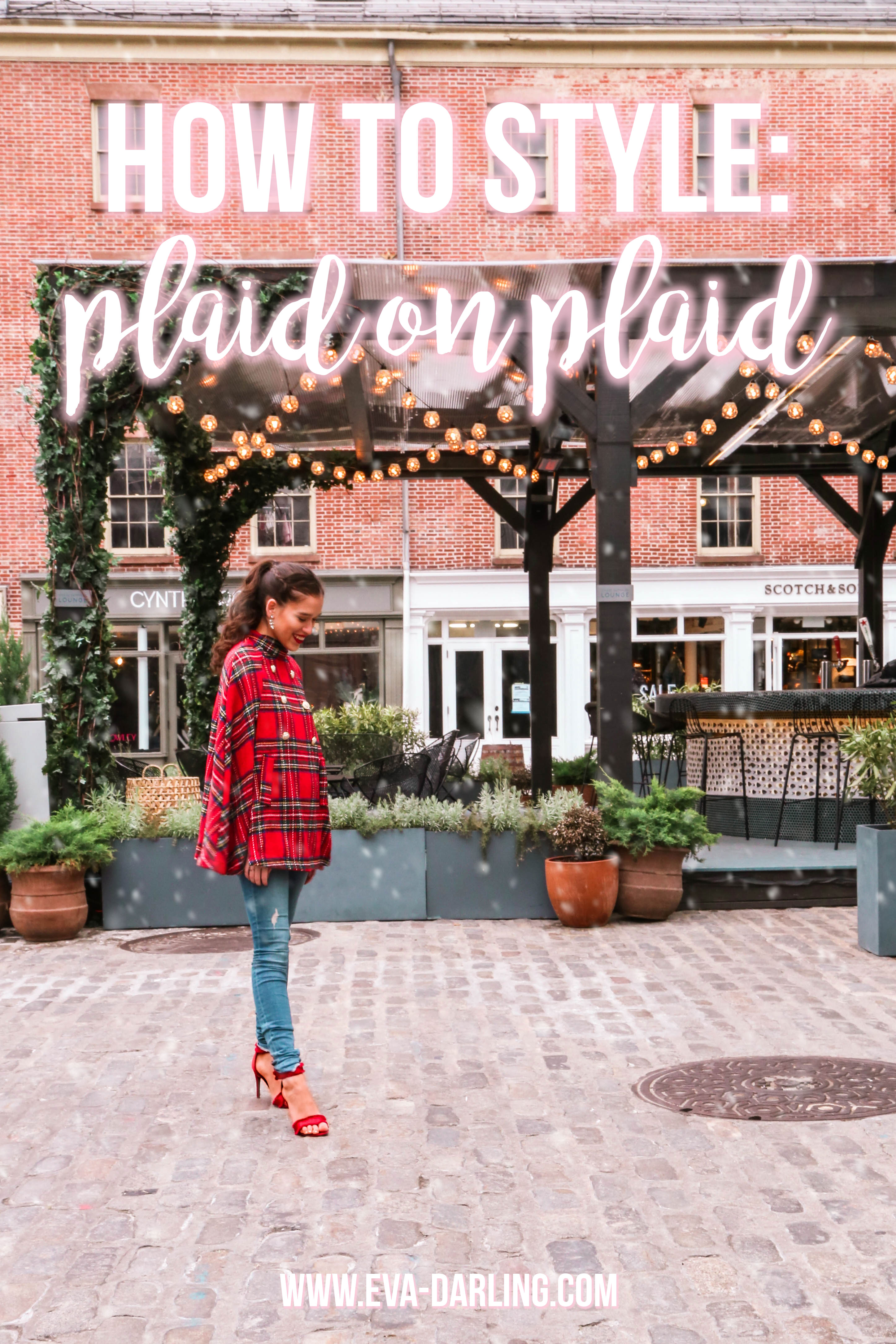 NYC style blogger Eva Phan of Eva Darling wearing an affordable inexpensive trendy wool blend red plaid holiday cape coat from Shein Frame denim jeans and red stiletto shoes from Who What Wear at Target long brown hair brunette high ponytail curled how to style plaid on plaid