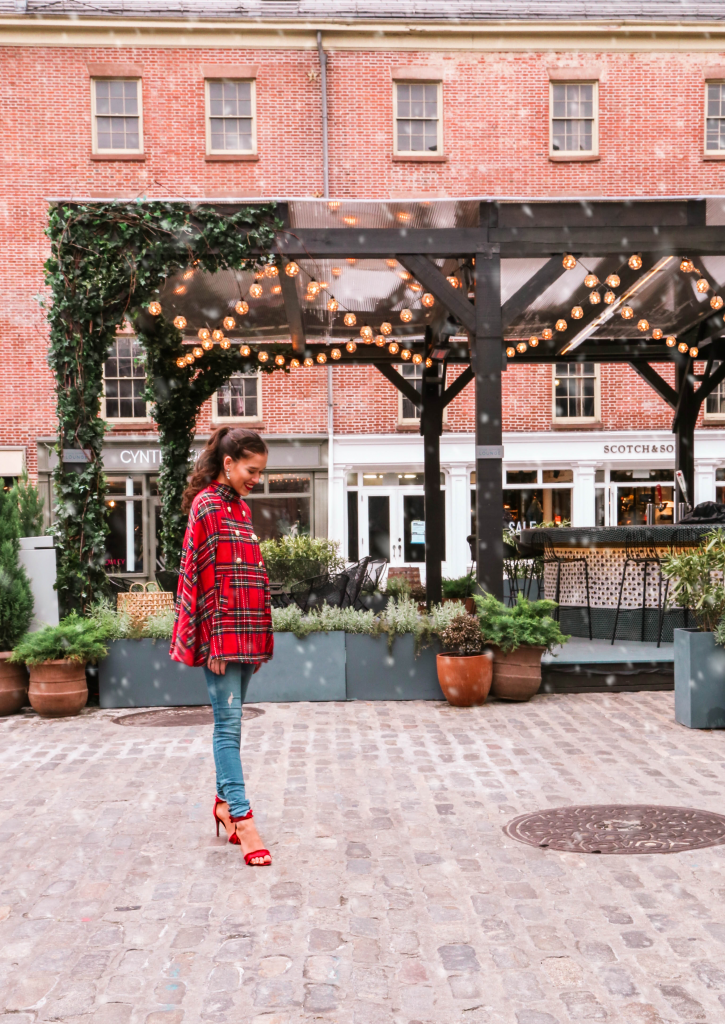 NYC style blogger Eva Phan of Eva Darling wearing an affordable inexpensive trendy wool blend red plaid holiday cape coat from Shein Frame denim jeans and red stiletto shoes from Who What Wear at Target long brown hair brunette high ponytail curled