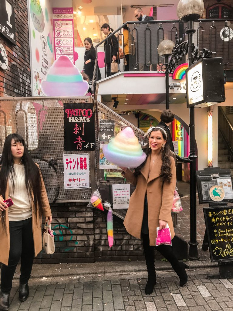 Totti candy factory kawaii cotton candy rainbow takeshita street harajuku shibuya tokyo japan girl long brown camel dior mitzah twilly