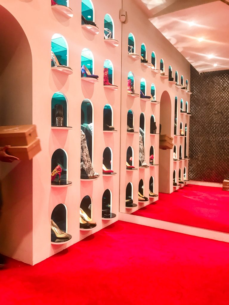 Christian Louboutin Flagship Store Paris Rue Jean-Jacques Rousseau shoe display interior
