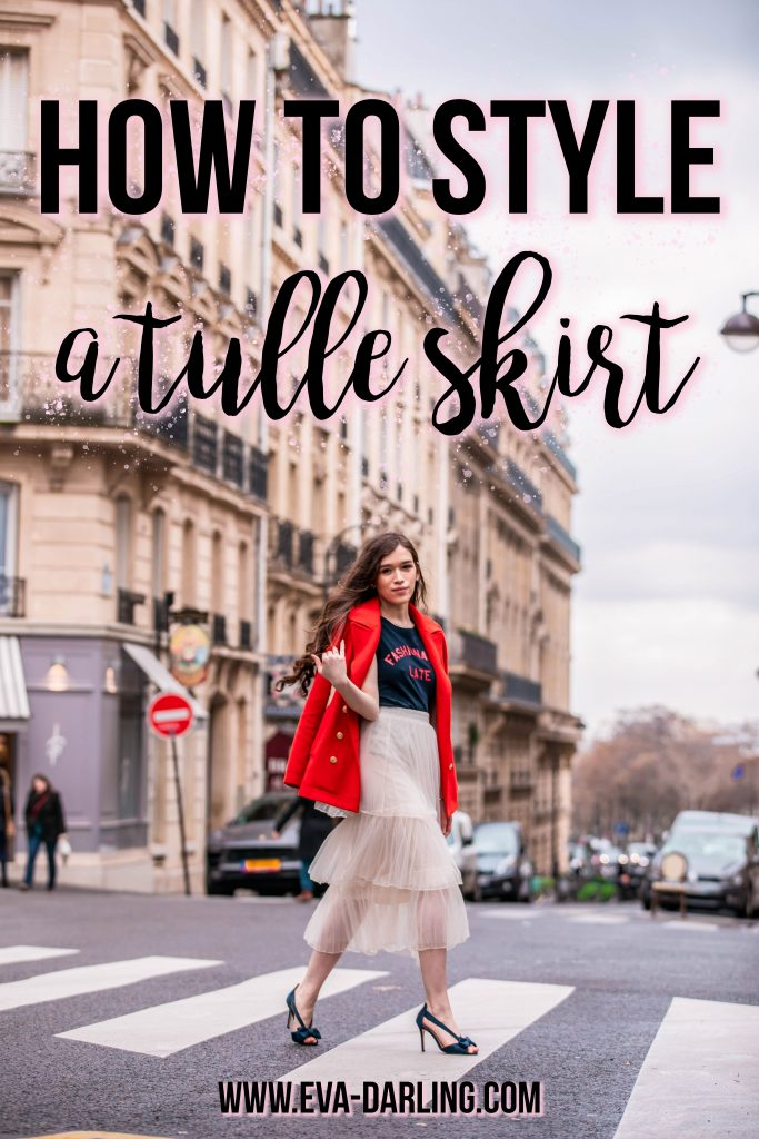 Eva Phan of Eva Darling how to style a tulle skirt affordable fashion tips and tricks for everyday outfit idea inexpensive layered midi tulle skirt feminine trendy modest outfit women's fashion paris france street style paris fashion week