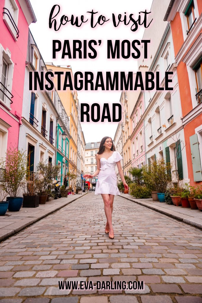 Eva Phan of Eva Darling Rue Cremieux paris france instagrammable instagram worthy road travel guide photo location paris where to go photoshoot bright colored houses