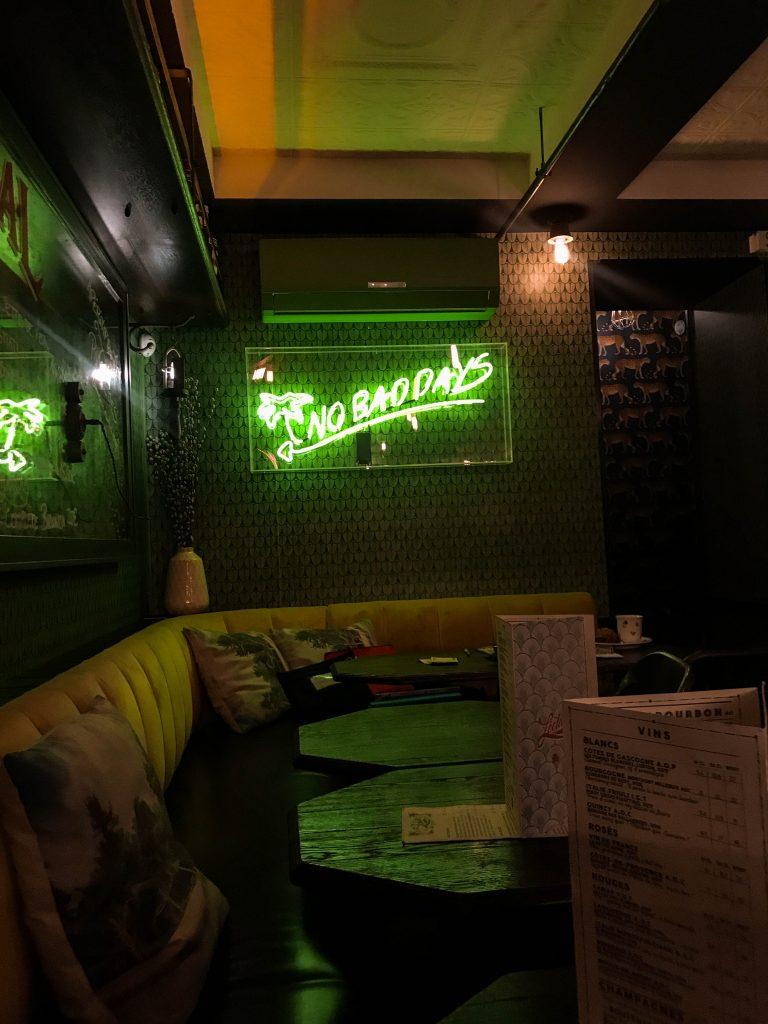 L'Éclair cocktail bar rue cler paris france best places to eat in Paris no bad days neon sign