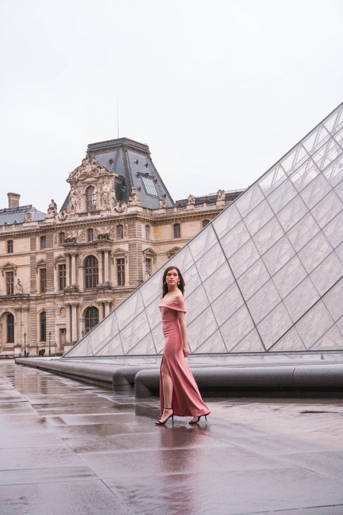 Eva Phan of Eva Darling Louvre Museum Paris France Lulu's Mauve Aveline Gown