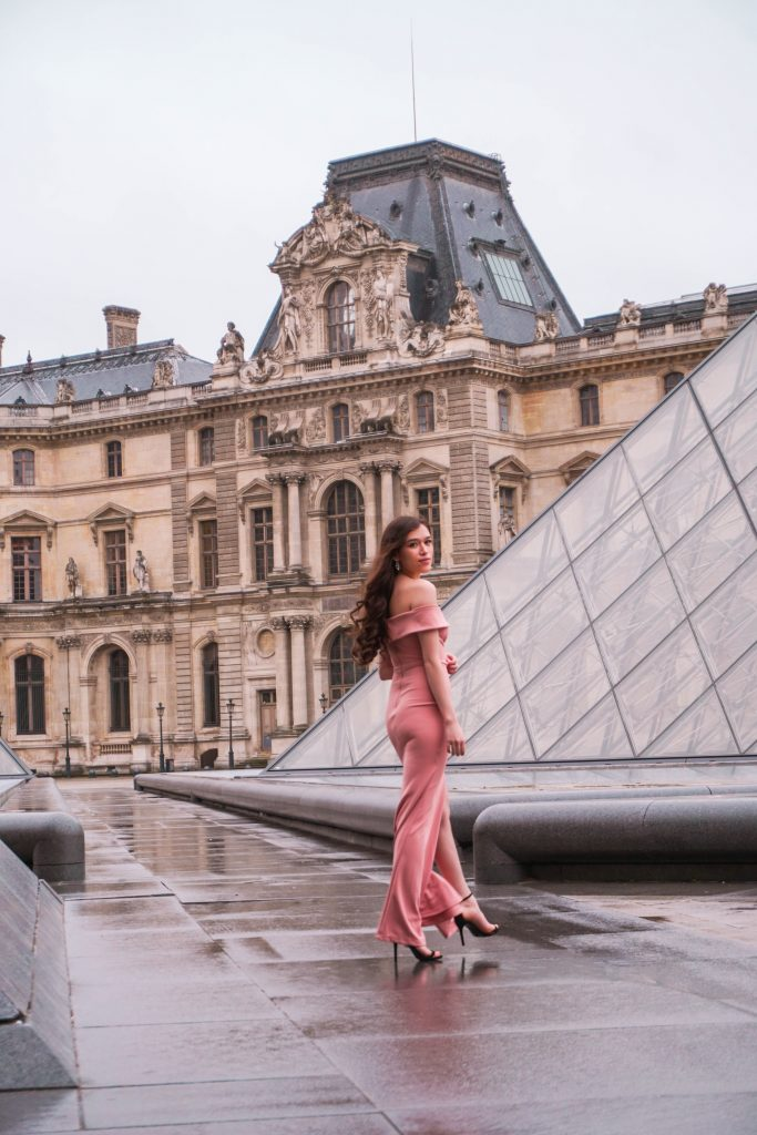 Eva Phan of Eva Darling Louvre Museum Musée du Louvre Paris France Lulu's Mauve Aveline Gown