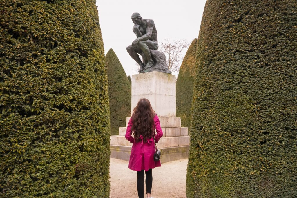 Eva Phan of Eva Darling at the Musée Rodin in Paris France Auguste Rodin 7e arrondissement the thinker statue sculpture garden