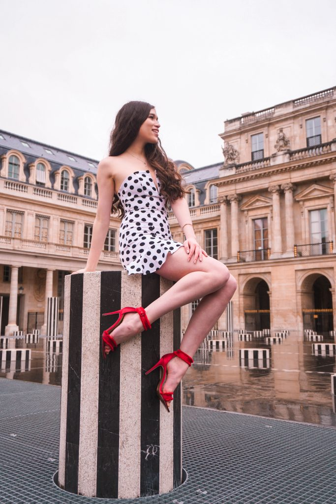 Eva Phan Eva Darling Palais Royal Revolve high commission About Us Karla Polka Dot Dress in Black & White Instagram photoshoot location Paris France instagrammable red satin stiletto heel Who What Wear Collection Target cute feminine style outfit wanderlust parisian fashion