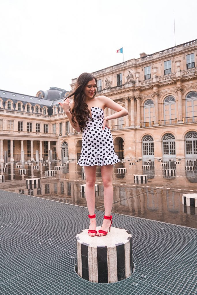 Eva Phan Eva Darling Palais Royal Revolve high commission About Us Karla Polka Dot Dress in Black & White Instagram photoshoot location Paris France instagrammable red stiletto heel Who What Wear Collection