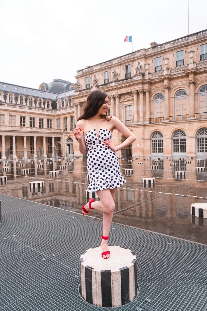 Eva Phan Eva Darling Palais Royal Revolve high commission About Us Karla Polka Dot Dress in Black & White Instagram photoshoot location Paris France instagrammable red stiletto heel Who What Wear Collection Target cute feminine style outfit