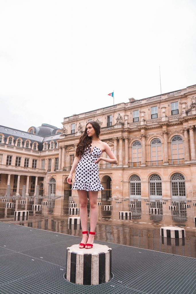 Eva Phan Eva Darling Palais Royal Revolve high commission About Us Karla Polka Dot Dress in Black & White Instagram photoshoot location Paris France instagrammable red satin stiletto heel Who What Wear Collection Target cute feminine style outfit wanderlust parisian fashion what to wear in Paris
