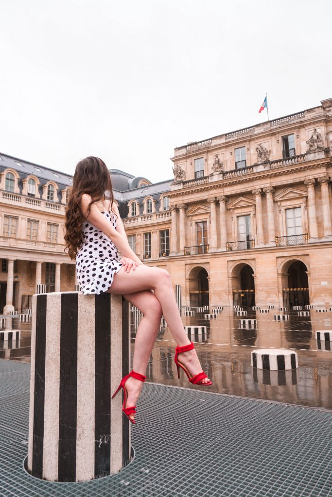 Eva Phan Eva Darling Palais Royal Revolve high commission About Us Karla Polka Dot Dress in Black & White Instagram photoshoot location Paris France instagrammable red stiletto heel Who What Wear Collection Target cute feminine style outfit wanderlust