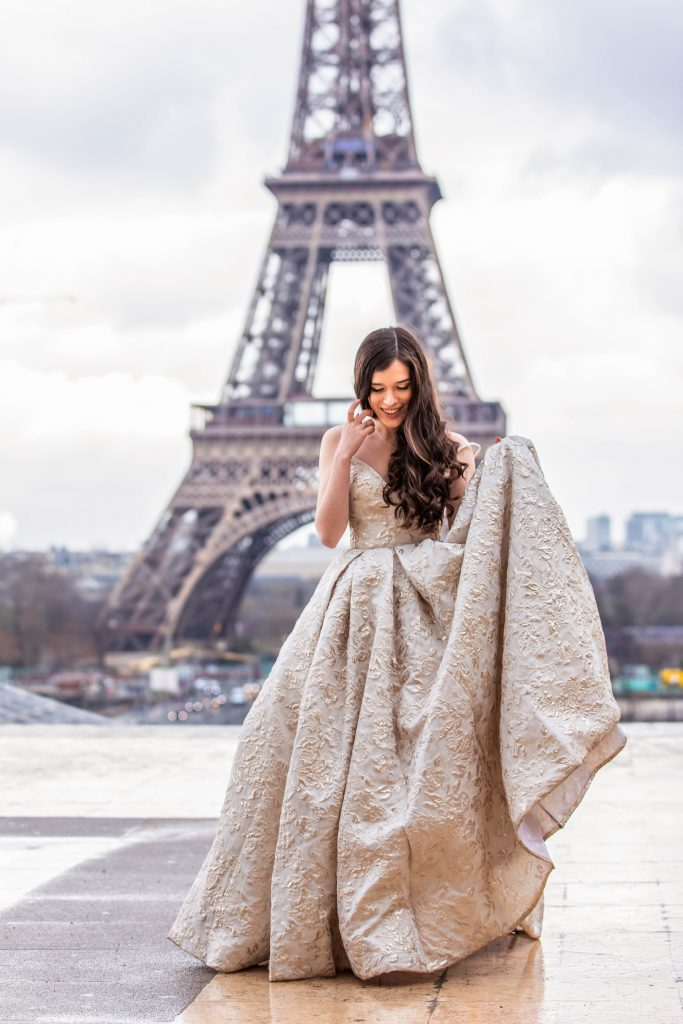Eva Phan of Eva Darling Place du Trocadero Paris France luxury ballgown Tarik Ediz Eiffel Tower wedding photo inspiration where to see the eiffel tower 16e arrondissement feminine fashion princess prom style dress inspiration
