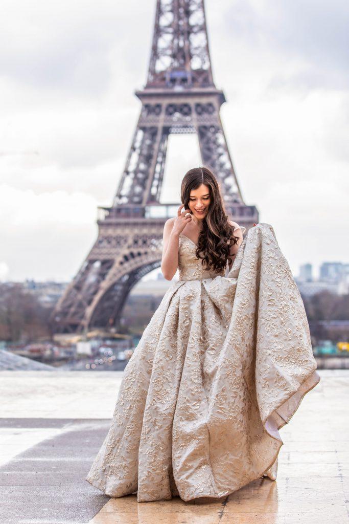 Eva Phan of Eva Darling Place du Trocadero Paris France luxury ballgown Tarik Ediz Eiffel Tower wedding photo inspiration where to see the eiffel tower 16e arrondissement feminine fashion princess prom style dress inspiration