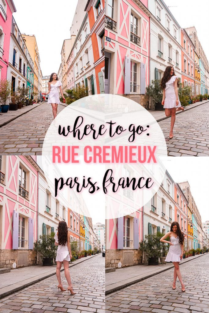 Eva Phan of Eva Darling Rue Cremieux paris france instagrammable instagram worthy road travel guide photo location paris where to go photoshoot bright colored houses tips and tricks cute spot in paris