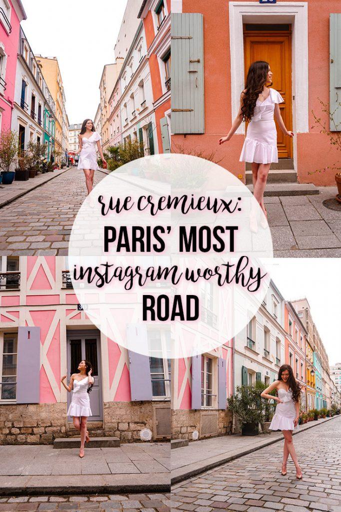 Eva Phan of Eva Darling Rue Cremieux paris france instagrammable instagram worthy road travel guide photo location paris where to go photoshoot bright colored houses tips and tricks solo female traveler vacation idea cute photoshoot location best travel tips for Europe