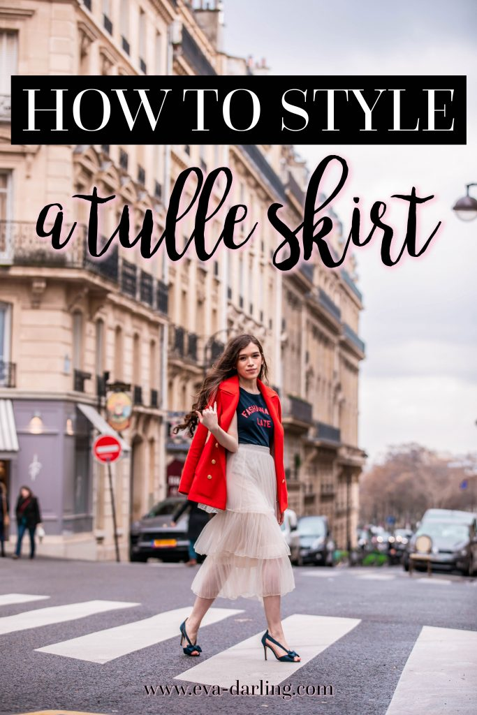 Eva Phan of Eva Darling how to style a tulle skirt affordable fashion tips and tricks for everyday outfit idea inexpensive layered midi tulle skirt feminine trendy modest outfit women's fashion